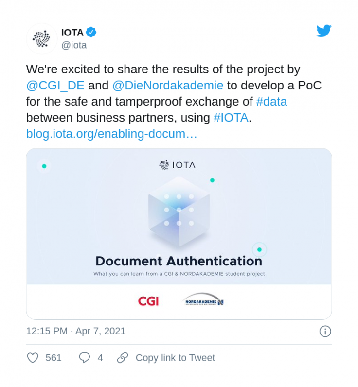 IOTA applies its DLT for documents verification