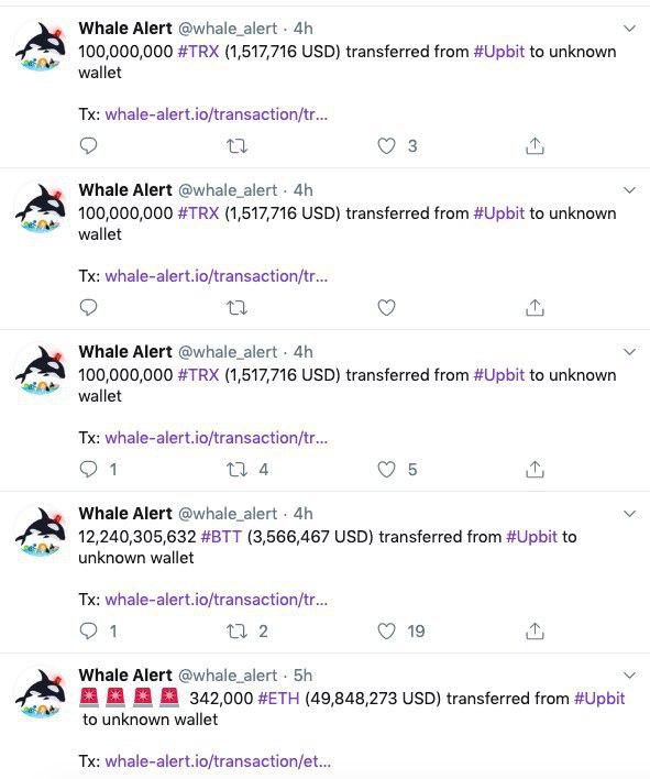 Screenshot of @whale_alert Twitter feed, Nov. 27