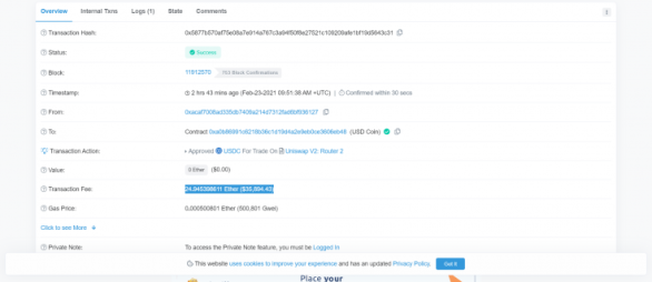 Uniswap user pays $36,000 for a single transaction