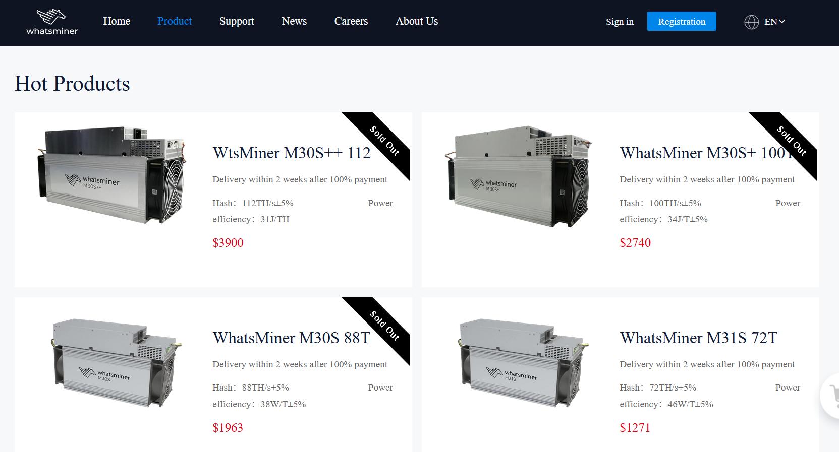 Bitcoin mining equipment from MicroBT