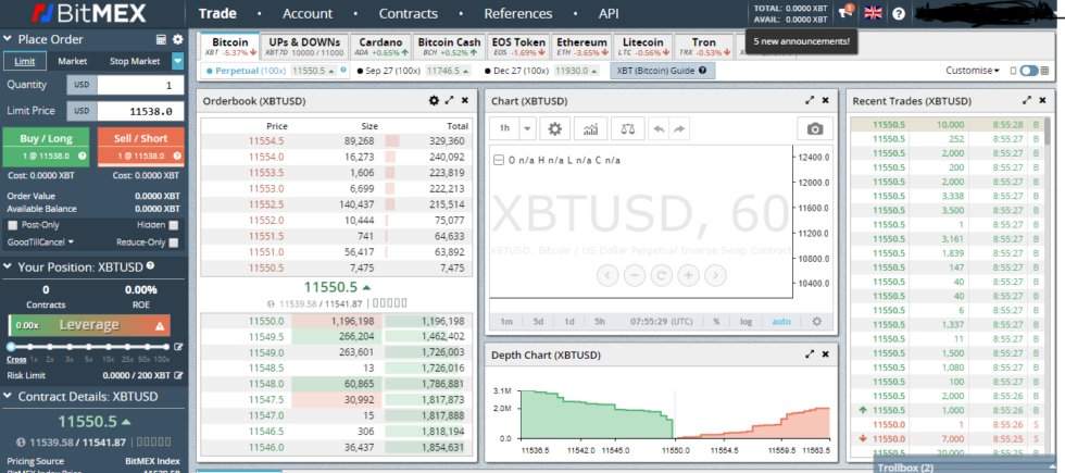 bitmex bitcoin exchange user interface