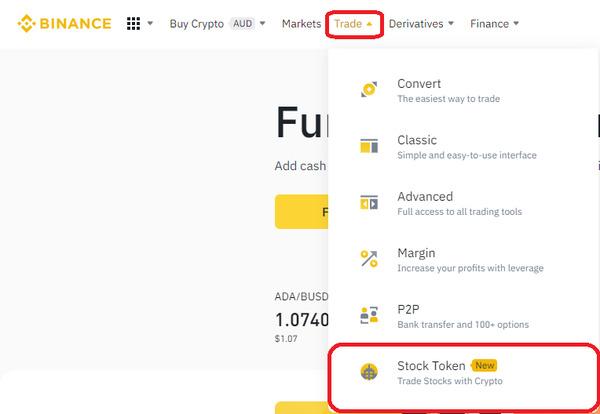 Binance trade drop down menu screenshot.