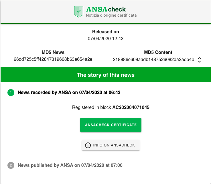 Blockchain news verification system by ANSA agency. Source: ANSAcheck